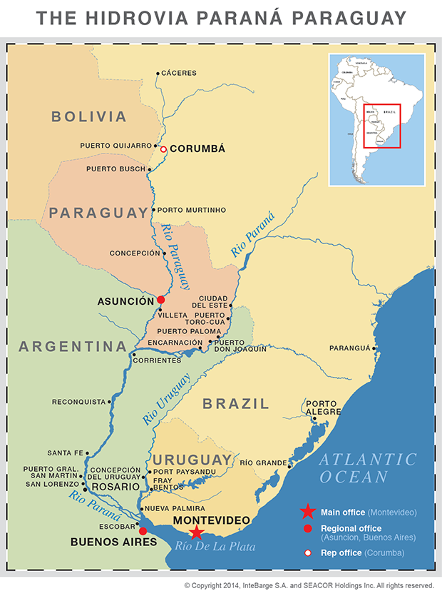 InterBarge Map Of Operations - Montevideo map